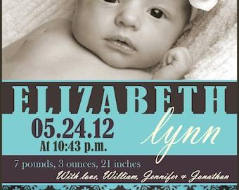 Custom Baby Girl Boy Photo Announcement