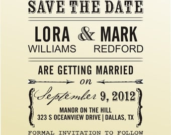 SAVE the DATE vintage design typewriter font rubber stamp clear block mounted -style 6039SAVEtheDATE  - custom wedding stationary