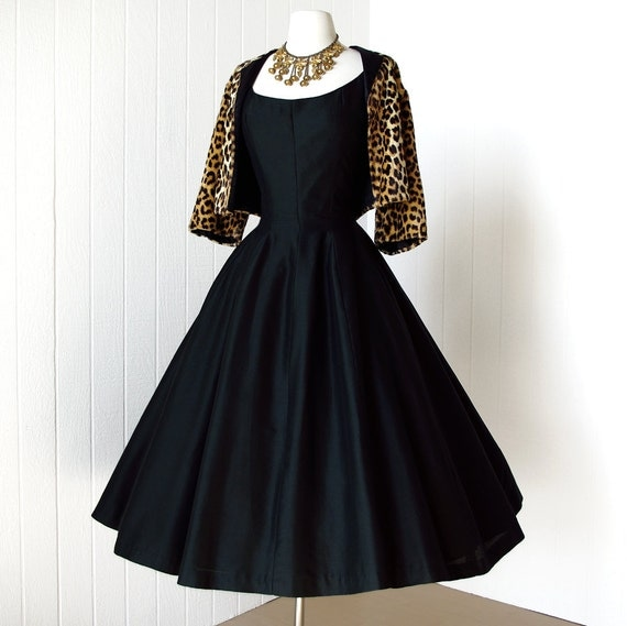 vintage 1950's dress ...dior inspired GIGI YOUNG new york black polished corset seams full skirt cocktail party dress m l