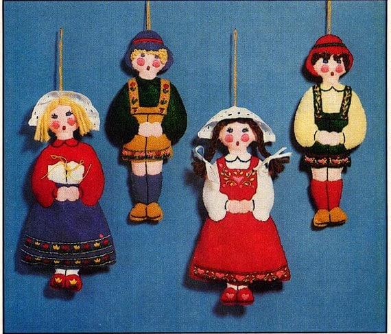 Vintage Felt Children Christmas Ornaments Sewing Pattern Plus