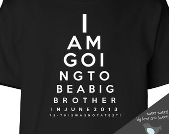 Big brother shirt funny eye chart pregnancy announcement DARK Tshirt