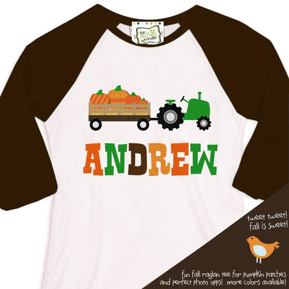 fall tractor kids personalized baseball raglan shirt - Adorable custom and personalized long sleeve tractor t shirt