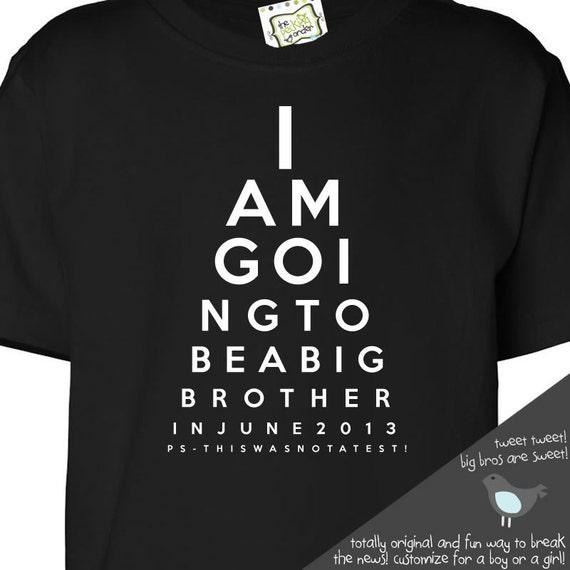 Big Brother Shirt Funny Eye Chart Pregnancy Announcement Dark