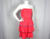 Vintage 1970s Catalina Strapless Beach Dress, Cover-Up, Sz S, M