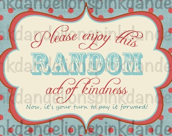 Random Act of Kindness Cards/Tags - Digital files