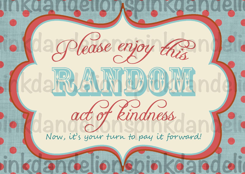 Random Act Of Kindness Printable Cards Random act of kindness