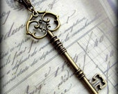 Large Skeleton Key Necklace in Antique Brass Finish, Extra LONG Chain, Fancy Bail