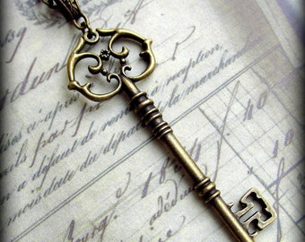 Large Skeleton Key Necklace in Antique Brass Finish, Extra LONG Chain, Fancy Bail, Gift for Her