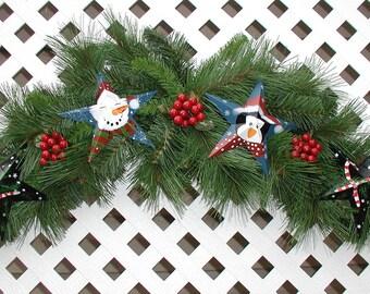 Tin Stars Christmas Swag - Christmas Door Swag - Holiday Swag - Christmas Pine Swag - Christmas Wreath - Holiday Wreath - Front Door Wreath