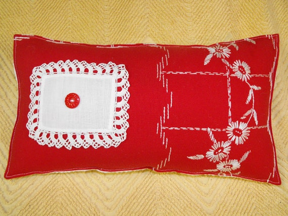 Upcycled vintage red embroidered tablecloth w daisies by