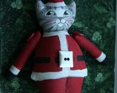 Grey TABBY cat Santa Claus Christmas ornament