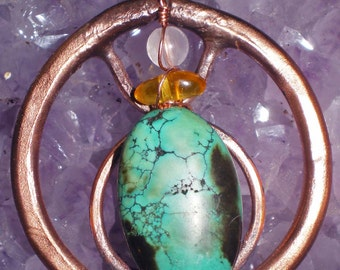 Taurus zodiac copper pendant with gemstones