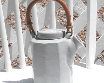 Teapot Handmade Pottery Gray with Bamboo Handle Vinage