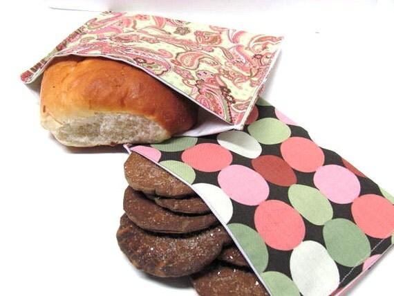 2 Pc Reusable Sandwich Snack Bag Set Paisley N' Dots Lunch Kit Eco Sandwich Bag Multi-colored Modern Paisley