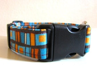 SALE - Vintage Inspired Brown Orange Blue Squares Dog Collar - Size S/M