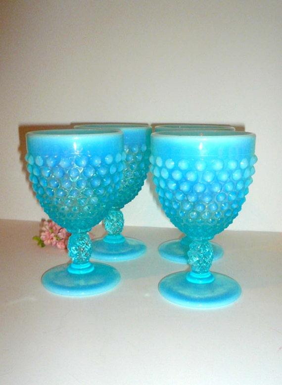 Fenton Aqua Hobnail Water Goblets Opalescent Set of Four