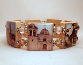 CALIFORNIA MISSION Jewelry / SCRABBLE Bracelet / Upcycled Vintage Art / Unusual Gifts