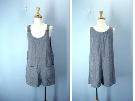 Overall Shorts / Vintage Romper Black White Shorts / m