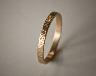 Recycled Hand Forged 14k Yellow Gold 2mm Band Hammered Eco Metal