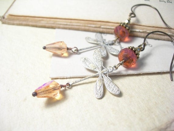 Shabby chic earrings dragonflies honeysuckle pink smoky rose garden fashion