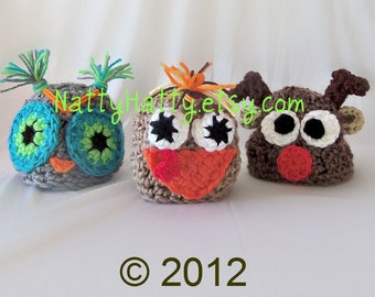 Convo  owl  turkey and rudolph or clarice crochet hats