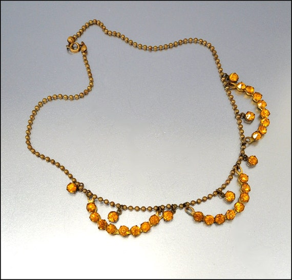 Art Deco Rhinestone Necklace Amber Paste Ball Chain Brass Festoon Vintage 1920s Jewelry