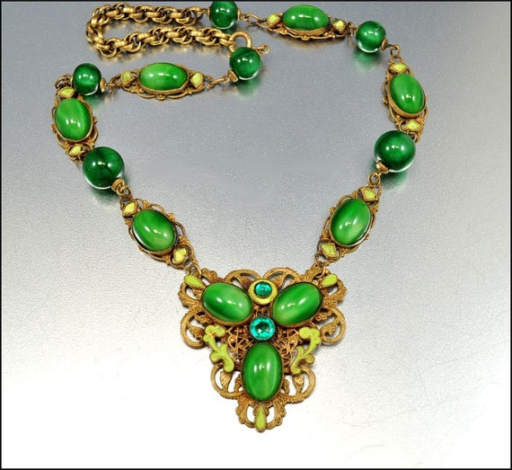Art Deco Necklace Czech Glass Green Enamel Gold Gilt Pendant Vintage 1920s Jewelry