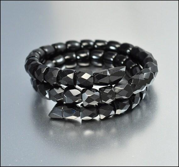 French Jet Wrap Snake Bracelet Antique Jewelry Victorian Upper Arm Goth Vintage