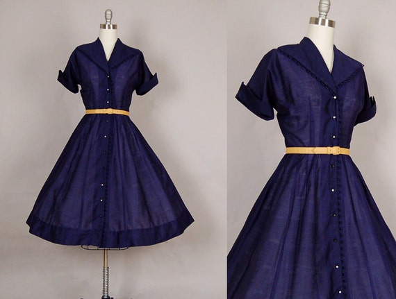 vintage 1950s dress 50s dress full skirt cotton navy blue rhinestone sheer day dress