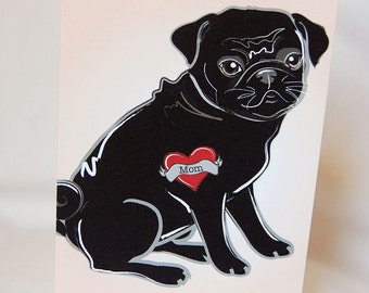 Custom Black Pug Tattoo Greeting Card