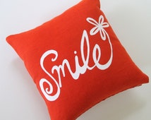 Pillow Cover Cushion Cover - Smile Flower design - 12 x 12 inches - Choose your fabric and ink color