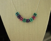 Beaded Name Necklace ///ball chain, acrylic letter beads///