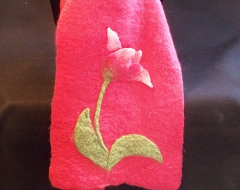 Felted Wool Scarf - Merino Wool  - Coral Pink with Tulip - Needlefelt Flower - Gift for Her - Winter Scarf - Wool Scarves