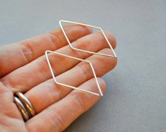 Earrings. Parallelogram. Geometric. Geometry. Urban Eco. Modern Simple Sterling Silver. By Epheriell on Etsy.