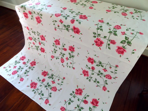 Pink Roses VIntage Tablecloth - Cottage Chic