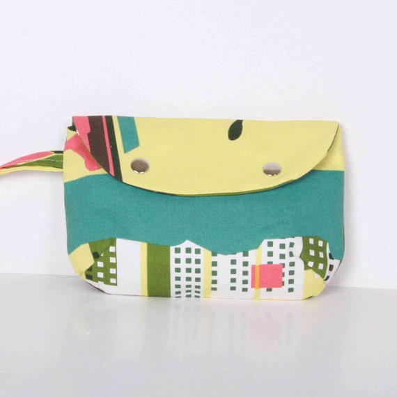 Clutch , Pouch ,Yellow green.. canvas with Cream lining