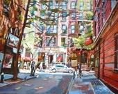 Greenwich Village near MacDougal St. Minetta Lane| NYC Art 12x16 Print New York Cityscape,  painting by Gwen Meyerson