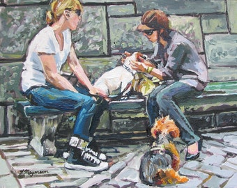Dog Painting, Dog Lover Painting, Dogs Art, Dog Day Out, Fifth Avenue Central Park, Fine Art Summer Print of Painting 8x10  by Gwen Meyerson