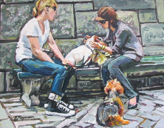 Dog Lover Painting, Dogs Art, Dog Day Out, Fifth Avenue Central Park, Fine Art Summer Print of Painting 8x10  by Gwen Meyerson