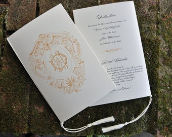 100 Vintage Classic Wedding Programs with Tassels