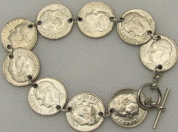 Coin Charm Bracelet - USA Dime Bracelet. ONSALE.
