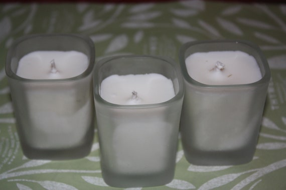 Set of 3 Square Frosted Unscented Votives