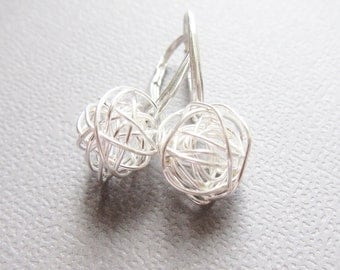 Tangled Silver Earrings, Sterling Silver Earrings, Wire wrapped jewelry, Leverback, Contemporary design by CuteJewels