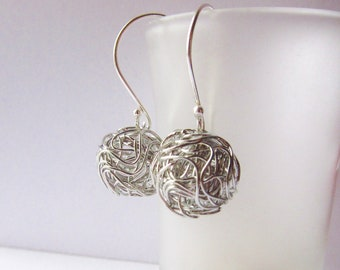 Oxidized Wire Ball Earrings Sterling Silver Modern design silver wire ball earrings - Similar to Dandelion Earrings