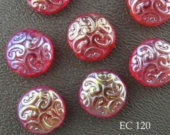 14mm Czech Glass Beads, Strawberry Red Brocade Coin Bead (EC 120) 6 pcs BlueEchoBeads