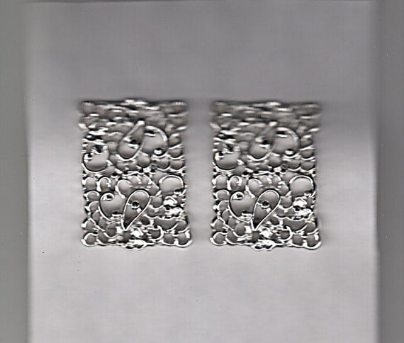 Emmons Designer Clip Earrings Silver Filigree Vintage Hollywood Regency