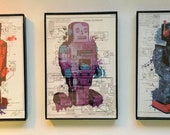 Framed Toy Robot Print Trio