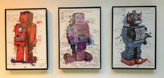 Framed Toy Robot Print Trio