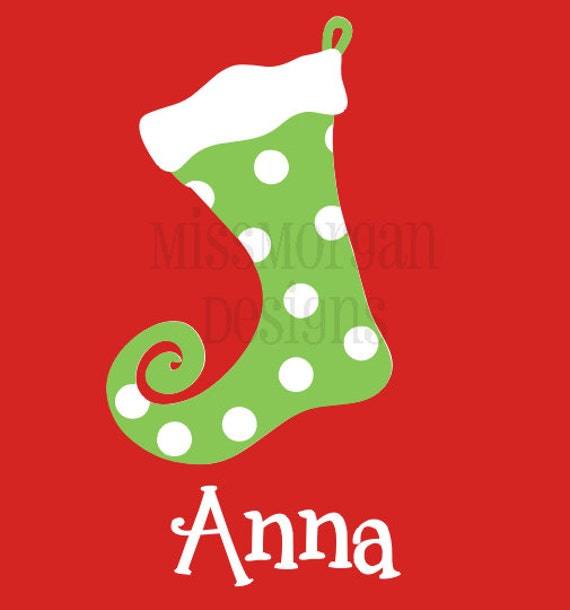Personalized Christmas Stocking Iron On Decal Vinyl By