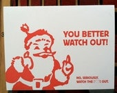 Santa / Watch the F&% Out! funny holiday letterpress greeting card